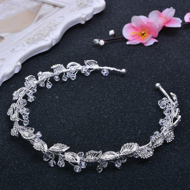 3fa53f129a63 Strass Foglia argento Crown Tiara Con perline Gioielli Accessori Per Capelli  Copricapo Da Sposa Diademe Mariage