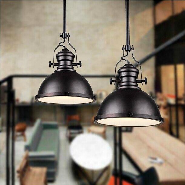 Dia*32cm American industrial loft Vintage pendant lights for dining room iron black painted E27 Edison bulb home lamp