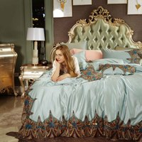 Lace Embroidery 4 Pcs Bedding Sets 120S Long Staple Egyptian Cotton Duvet Cover Pillowcases Bed Cover Queen King Noble Bed Sets