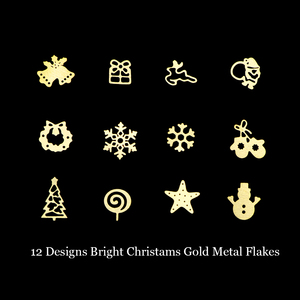 Image 3 - 1pcs Gold Glitters Nail Flakes Mixed Christmas Sequins Snow Bells Tree Candy Star Deer Paillette Nail Art Decorations Tool BE886
