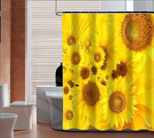 Best Gift Beautiful Sunflower Retro Cartoon Custom Shower Curtain Fabric Bath Waterproof MORE SIZE SQ ZHH S18