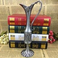 ホームデコレーション彫刻メタル卓上花瓶ヴィンテージピューター花花瓶アートクラフト結婚式小さな花瓶人工花メタル花瓶