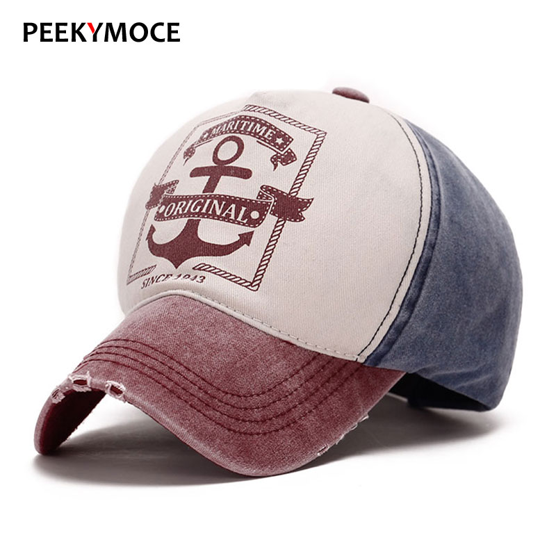 Peekymoce Wholesale Spring Cotton Baseball Caps Men Women Casual Fitted Hats Anchor Hat Snapback bone camuflado Baseball Cap [aetrends] 2017 cowboy hat cotton baseball cap 5 panel snapback hats for men and women bone caps z 3066