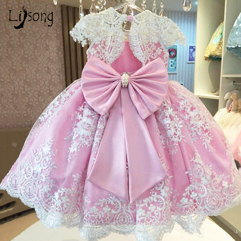 Pink White Appliques Pearls   Girl     Dress   with Big Bow O-neck Knee Length Short Sleeves Custom Made Princess   Flower     Girl     Dresses