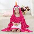 NoEnName_Null  Children's Bathrobes Absorbent Coral Velvet  Cartoon Hooded Baby Girls Boys Bath Towel PF-18