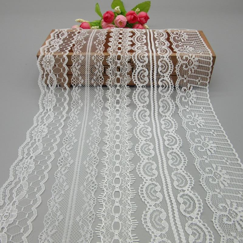10 ярдов Белый кружево, лента, тесьма 40 мм широкий отделкой DIY ремесла вышитые Чистая шнур для Вышивание украшения африканский кружево ткань