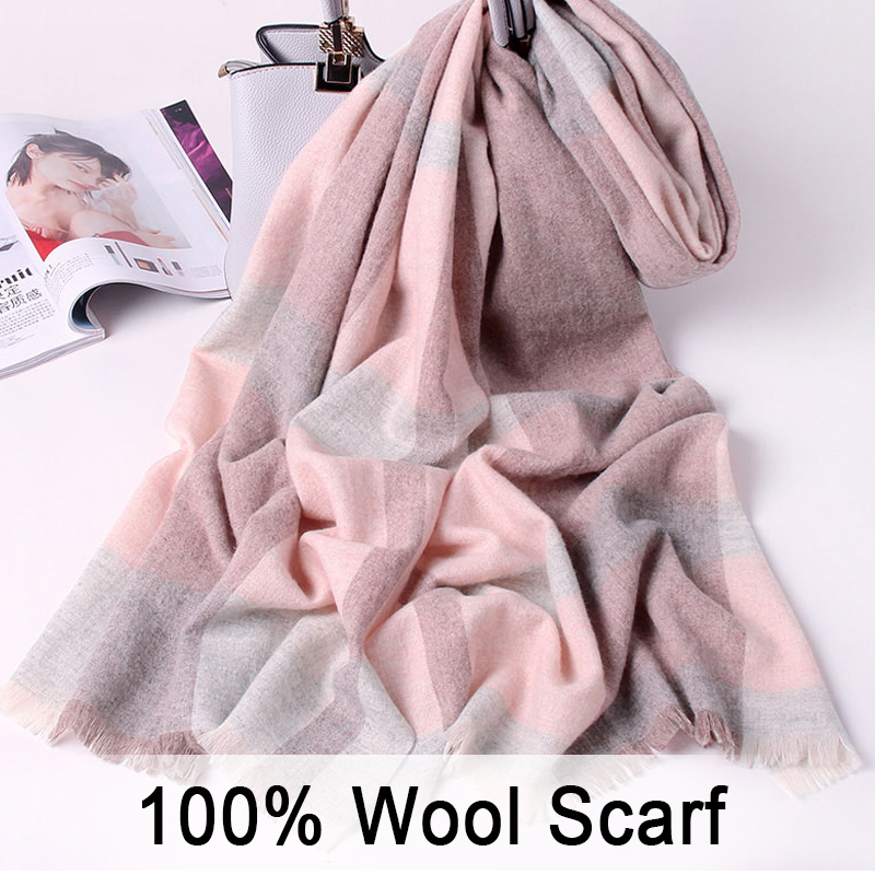 100% Pure Wool Scarf Women Luxury 2019 Shawls and Wraps Winter Warm Wool Scarves for Ladies Plaid Tassel Scarf Wool