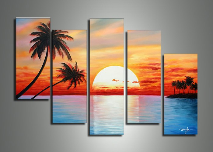 handmade 5 piece blue red landscape wall art oil paintings on canvas sunset ocean pictures unique gift for living room-in Painting u0026 Calligraphy from Home ... & handmade 5 piece blue red landscape wall art oil paintings on canvas ...