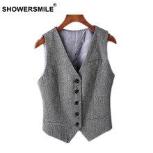 SHOWERSMILE Grey Suit Vest Women Sleeveless Jacket Female Slim Fit Striped Gray Herringbone Waistcoat England Style Clothes