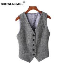 Showersmile серый костюм жилет женская куртка без рукавов женский