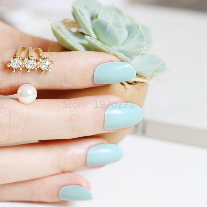 24pcs False nails Candy color nail plate tips Acrylic Nails small ...