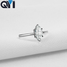 QYI Halo Ring 1 ct Marquise Cut 925 Sterling Silver Jewelry Women Engagement Jewelry Zircon Wedding Rings Gift