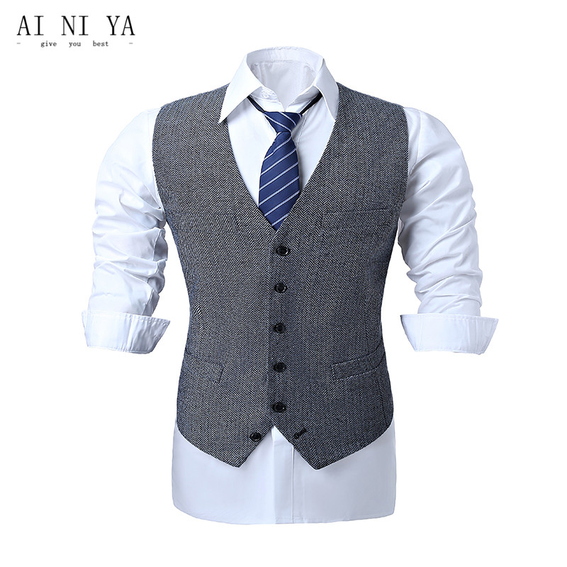 Vest Double-Breasted Retro Suit for Men Size : 195//4XL Gray Fashion Slim V Neck Mens Business Suit Waistcoat with Pockets