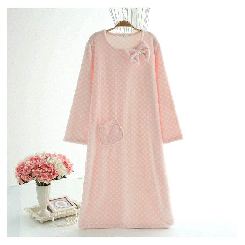 women Flannel   Nightgowns   long sleeve winter nightdress warm home clothing   sleepshirts   pijama feminino polka dot pullover