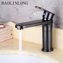 BAOLINLONG Style Baking Finish Basin Brass Bathroom Faucets Tap Deck Mount Vanity Vessel Sinks Mixer Faucet