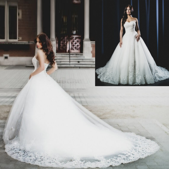 New Hot Sale Ball Gown Wedding Dresses with Long Train Glamorous ...
