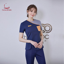 New beauty salon skin manager work clothes short sleeve pants set pedicure technician service yuezi center nurses wear