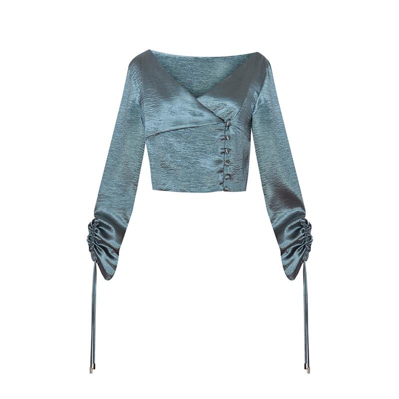 Sexy Vêtements Cou Vintage 2018 Pour Twotwinstyle Blue Dentelle V Blouse Printemps Chemise Femmes Chaîne D'été gold Irrégulière Court Up Tops Dessiner fyvY76bg