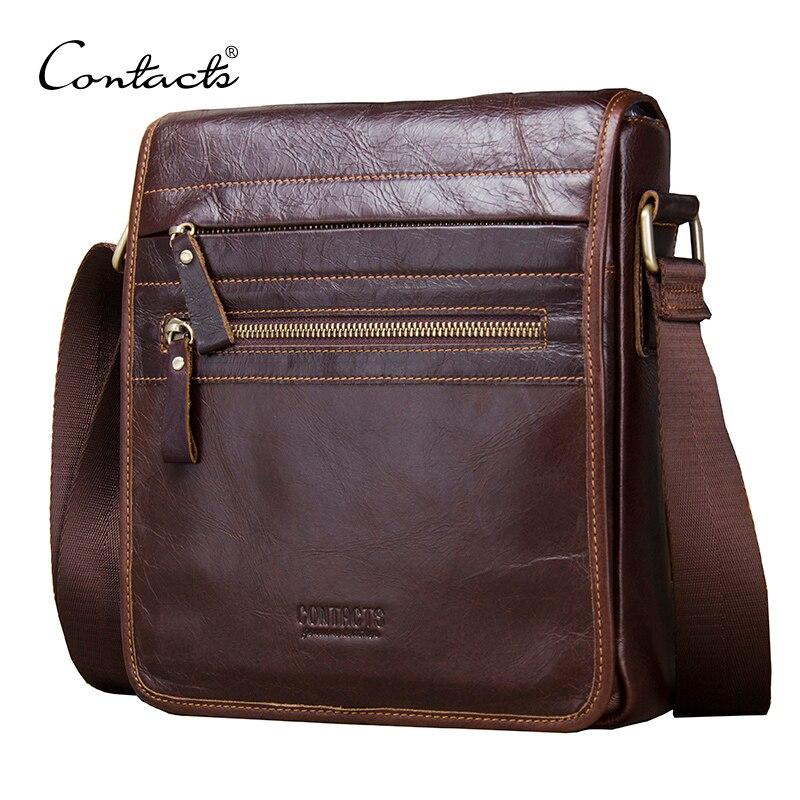 CONTACT'S Новая мода мужские из натуральной кожи Курьерские сумки из воловьей кожи мужская сумка через плечо Повседневное Для мужчин деловой по...