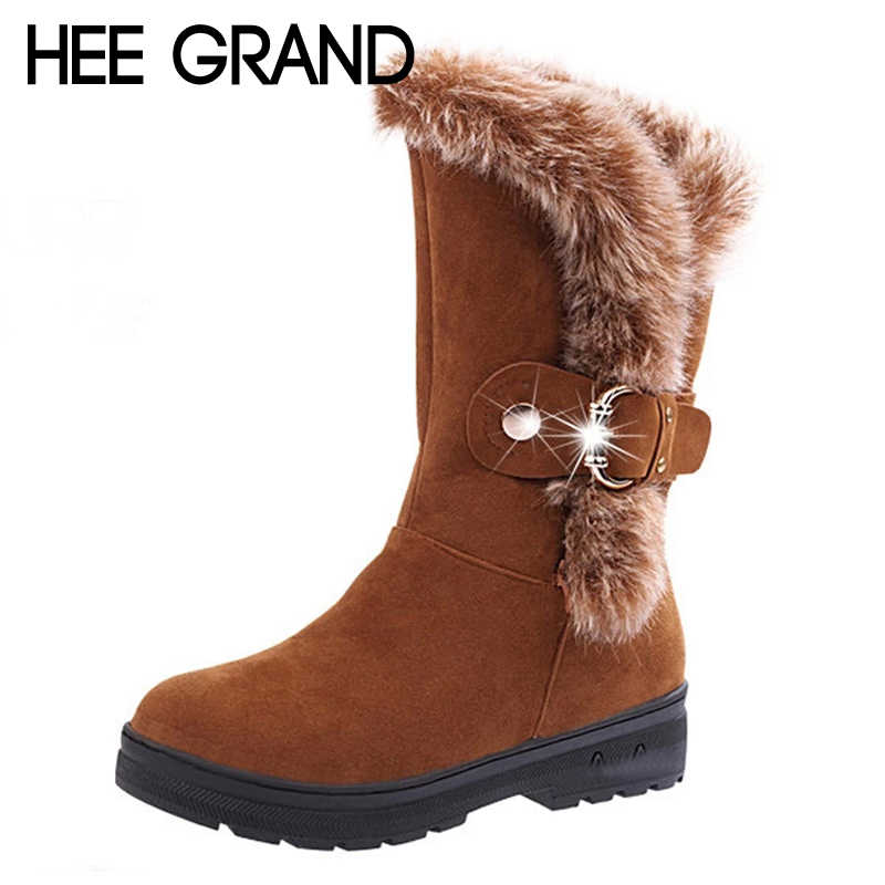 HEE GRAND Faux Fur New Winter Warm Woman Ankle Boots Slip On Creepers Casual Shoes Woman Flats With Suede Platform Shoes XWX6896