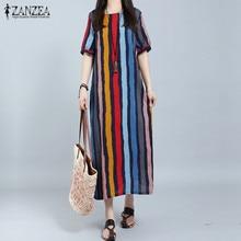 New ZANZEA Women Dress 2017 Summer Long Maxi Party Dresses Casual Loose Short Sleeve Striped Vestidos
