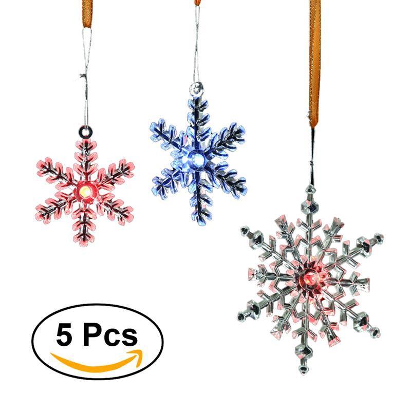 Beleuchtete Bilder Weihnachten.5pcs Led Beleuchtete Weihnachten Kunststoff Schneeflocke Ornament Kreative Hängende Funkelnde Schneeflocke Ornament