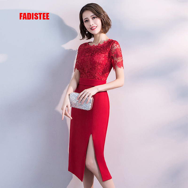 FADISTEE Hot sale cocktail party Dresses short Vestido de Festa mini appliques dress lace prom party