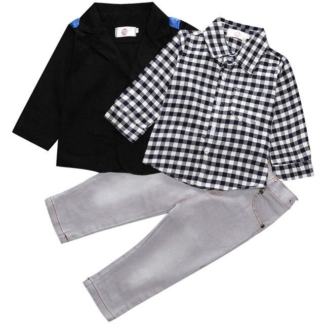 3ed66cf1 Barnas klær sett for våren baby boy dress med lange armer rutete ...