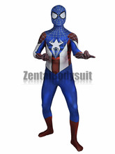 цена Captain America Spider-man costume Bodysuits movie Captain America Zentai Halloween Party Costume онлайн в 2017 году