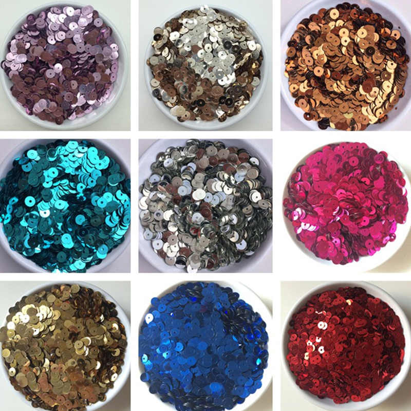 3mm 4mm 5mm 6mm Sparkles Flat Sequin Round Loose Blue Sequins for Crafts Paillette Sewing Garment Bags Shoes DIY Accessories