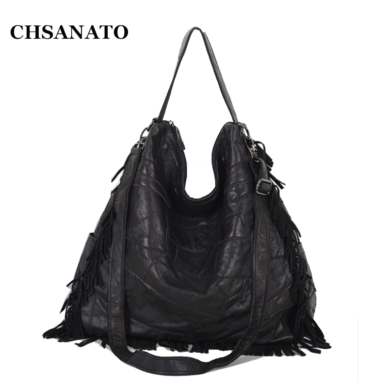 CHSANATO Fashion Genuine Leather Women Handbag Patchwork Sheepskin Shoulder Bag Famous Brand Women Messenger Bags Casual Tote