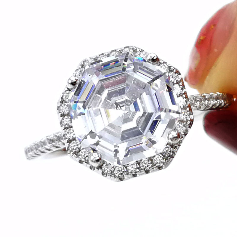 COLORFISH Asshcer Cut 4ct Engagement Ring Solid 925 Sterling Silver Wedding Jewelry For Women Sona Cz