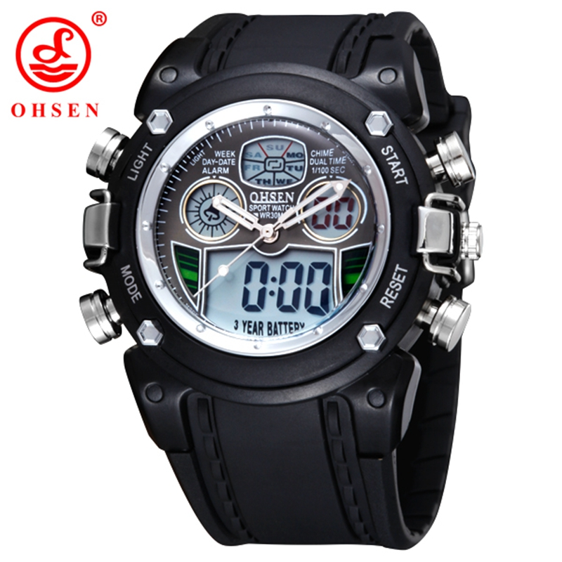 New OHSEN Waterproof Diver Military Wristwatch Mens Dual