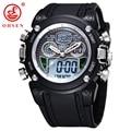 New OHSEN Waterproof Diver Military Wristwatch Mens Dual Time Sport Watch Alarm Date Week Chronograph Relogio Feminino Masculino