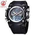 Nueva OHSEN Impermeabilizan Diver Reloj Militar Mens Dual Time Reloj Del Deporte Día Fecha Alarma Cronógrafo Relogio femenino masculino