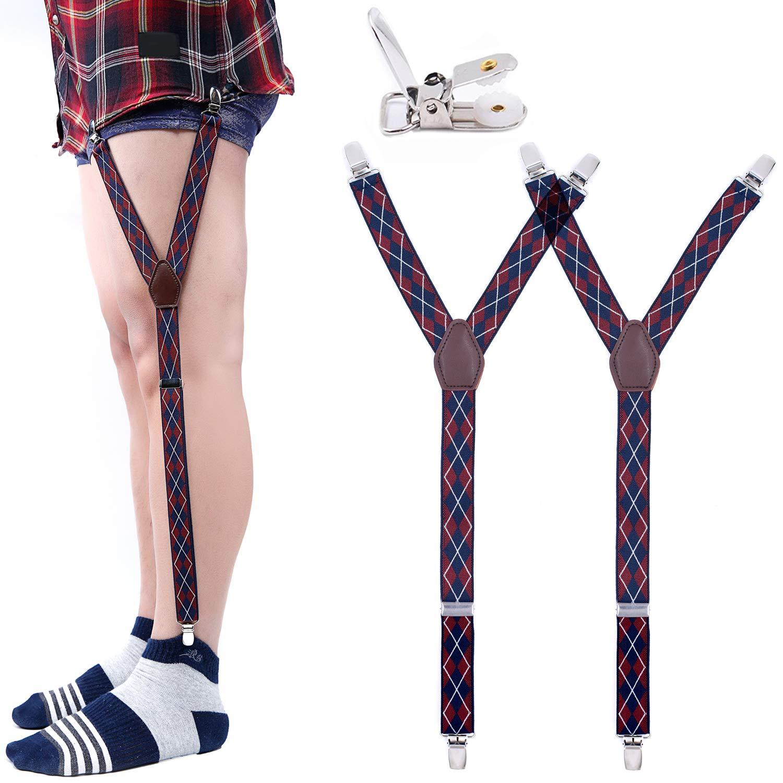 Shirt Stays Garters For Men Y Shape Military Adjustable Elastic Shirt Holders Straps Sock Non-slip Clamps Leg Suspenders