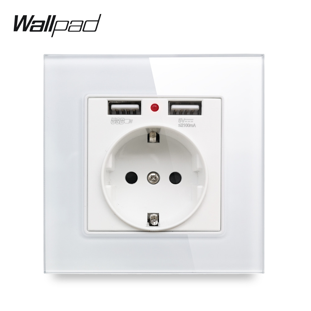 Wallpad S7 White And Black Glass Panel EU Wall Socket With 2.1A 2 X USB Charging Ports, Single Power Outlet Plate