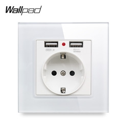 Wallpad s7 branco e preto painel de vidro tomada de parede da ue com 2.1a 2 x portas de carregamento usb, única placa de tomada de energia