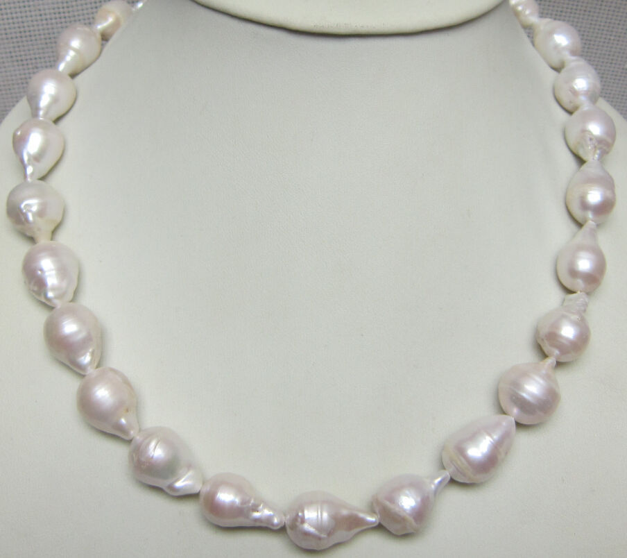 0001339 huge REAL HUGE AAA SOUTH SEA WHITE BAROQUE PEARL NECKLACE 18 14KGP