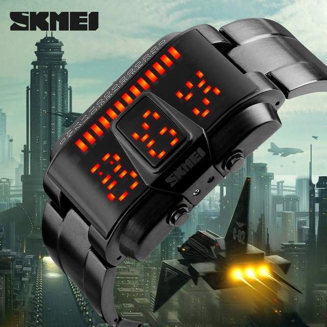 Men Sports Watches LED Display Waterproof 50M Stainless Steel Digital Watch Swimming Diving Hand Clock Relogio Masculino