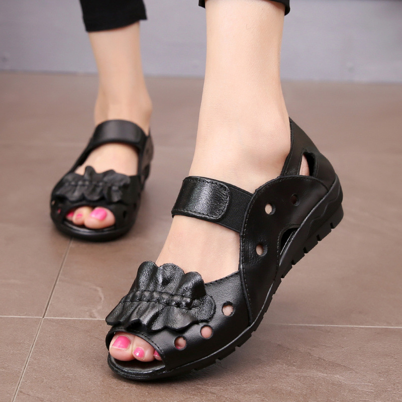 Summer Genuine Leather Ladies Fashion Flat Sandals Hollow Open Toe Women Sandals Soft Comfortable Casual Women Shoes AB28 women s shoes 2017 summer new fashion footwear women s air network flat shoes breathable comfortable casual shoes jdt103