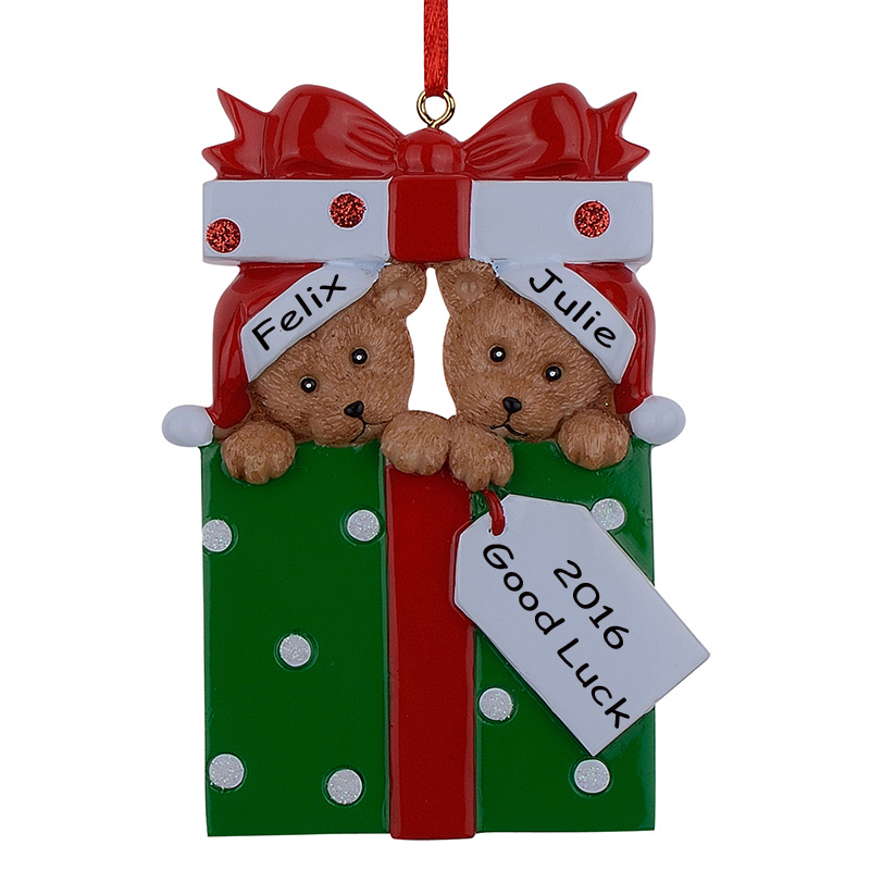 Wholesale Resin Bear Family Of 2 Christmas Ornament ...