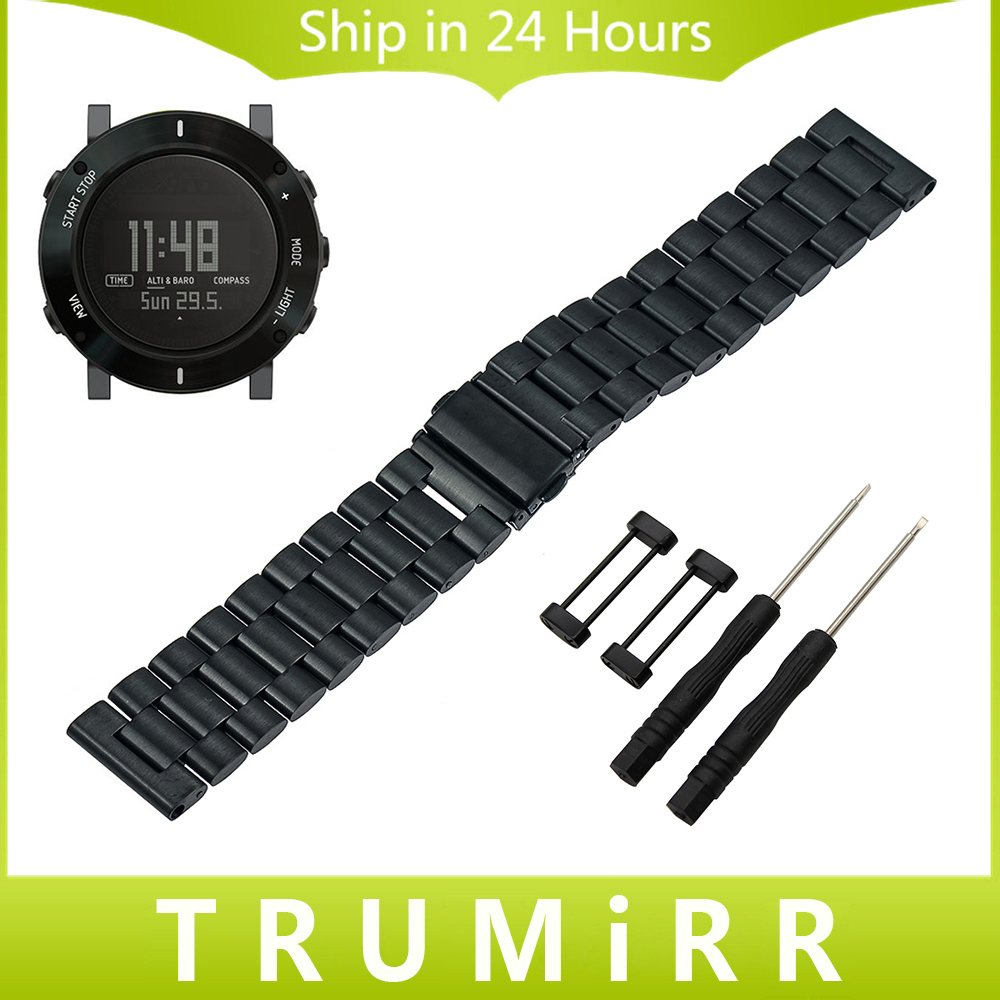 24mm Stainless Steel Watchband for Suunto Core Smart Watch Band Wrist Strap Link Bracelet Black Gold Silver + Lug Adapter + Tool stainless steel watch band 24mm for suunto core safety clasp strap loop belt bracelet black rose gold silver tool lug adapter