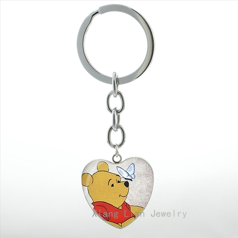Cute Cartoon Bear Butterfly Heart Pendant Keychain Silver Plated Glass Dome Winnie Bear Key Chain Ring Women Kids Jewelry HP298