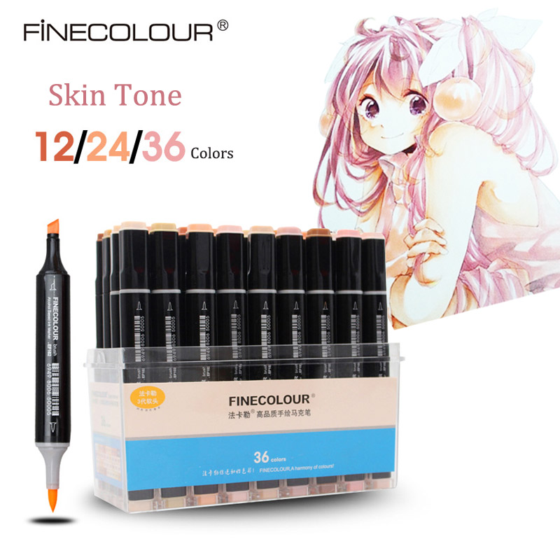 Finecolour Soft Brush Pens Art Markers Skin Tone Anime Manga Coloring Professional Technical Alcohol Based Artists Pen EF102