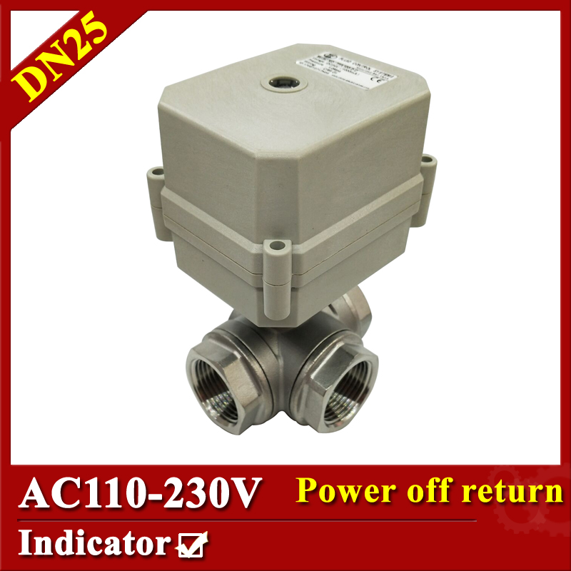 Tsai Fan Electric motorized valve 1 DN25 T port 3 way 2/5 wires Mini electric valve AC110V to 230V BSP/NPT with signal feedback ac110 230v 5 wires 2 way stainless steel dn32 normal close electric ball valve with signal feedback bsp npt 11 4 10nm