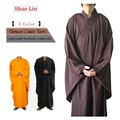 Free Shipping Unisex High Quality Shaolin Temple Zen Buddhist Robe Lay Monk Meditation Gown Kung fu Training Uniform Suit