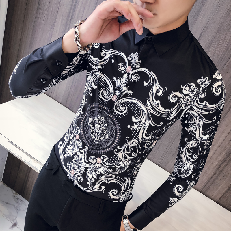 Men Paisley Print Shirt Camisa Slim Fit Masculina Social Formal Shirts For Men Slim Fit Korean Clothes Men Prom Club Shirt