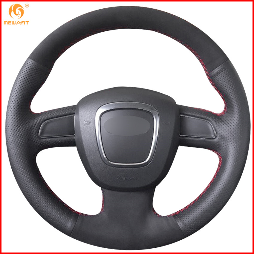 MEWANT Black Leather Suede Steering Wheel Cover for Audi A3 8P 2008 2013 A4 B8 2008