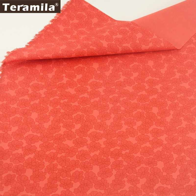 Teramila Cotton Fabric Red Printed Flowers Designs Twill Material Sewing Bedding Wedding Quiting Patchwork Decoration Cloth